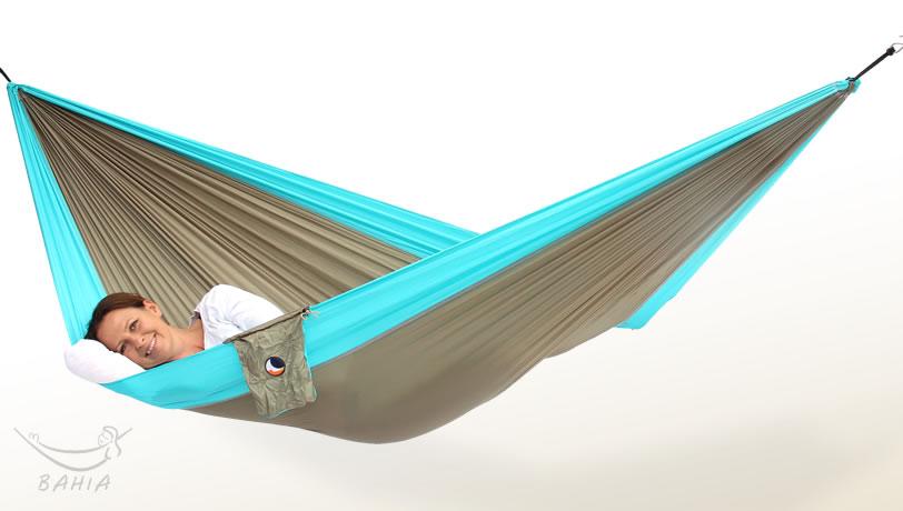 Hamac de voyage L kaki-turquoise