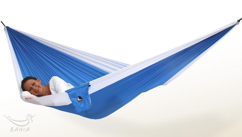 Reisehängematte L hellblau-weiß