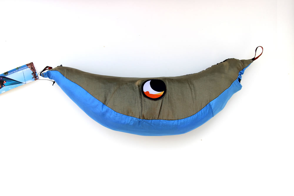 Reisehängematte XL hellblau-khaki
